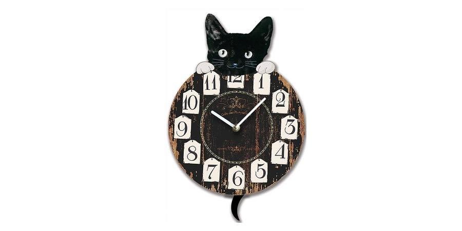 reloj de pared con pendulo diseño gato
