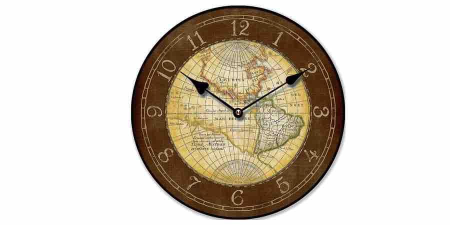 reloj pared vintage.Reloj de pared mapamundi